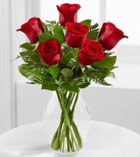 Valentine\'s Day 6 roses with Vase
